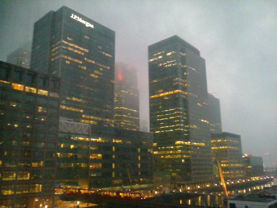 Bojan Salaj: View of Canary Wharf from the sixth floor of the hotel Britannia International, 2014.