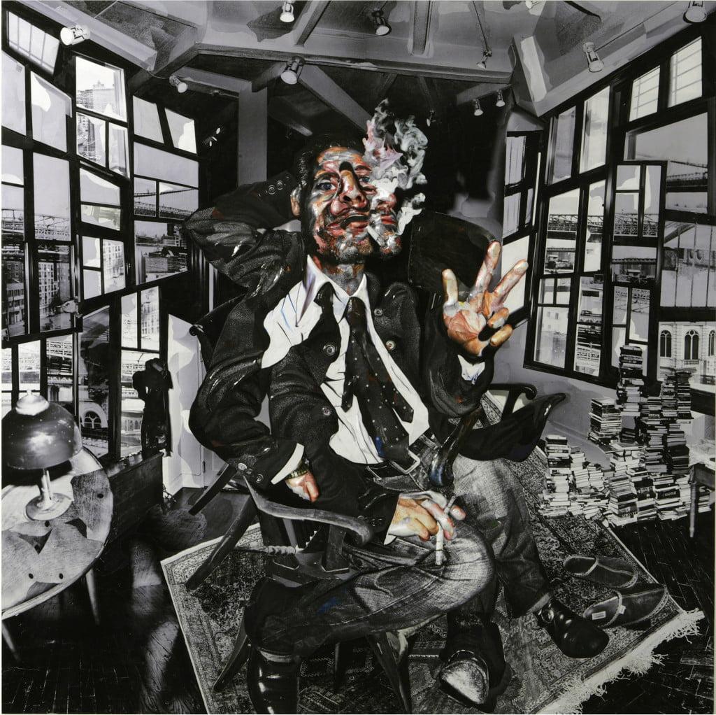 Chambliss Giobbi: Portrait of Fisher Stevens 1, Collage, Magic-Sculpt on Aluminum Panel, 152.4 cm x 152.4 cm x 5.08 cm, 2007.