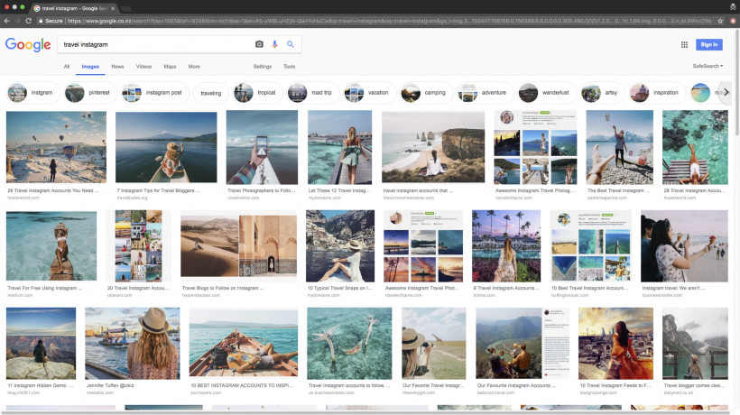 Fig. 1: A screenshot of Google image search results for: »travel Instagram«, taken on October 2nd, 2018, at 11.23.55 am, Copyright 2018 by Google and the Google logo are registered trademarks of Google LLC, used with permission.