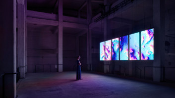 Fig. 1: onformative, 2017. Meandering River. [audiovisual digital artwork, installation view] (Berlin, Funkhaus). Used with permission.