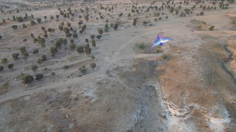 Fig. 1: Kite & Camera over the Cistern of Muhammad Ibn Salame Al-Uqbi (Caine, 2018).