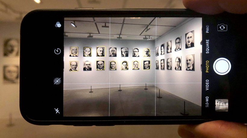 Gerhard Richter: 48 Portraits, seen through an iPhone camera with facial recognition overlay. Photograph: J. Hillman.