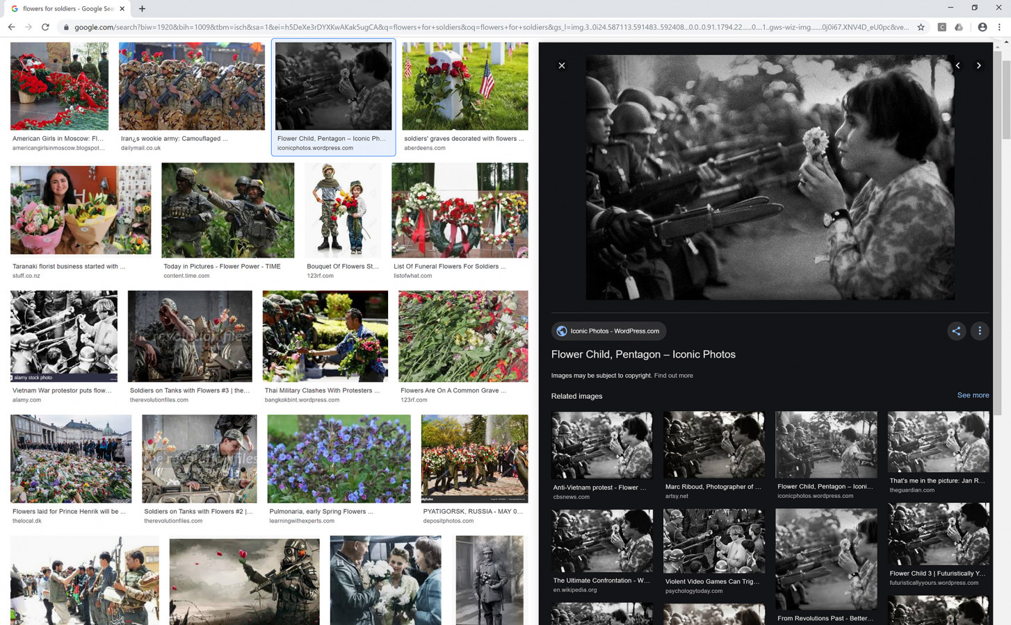 """Nataša Ilec: Protest, Symbol, and Web Browser. Google image search. Search word: """"Flowers for Soldiers"""". Screen shot, November 28, 2019."""