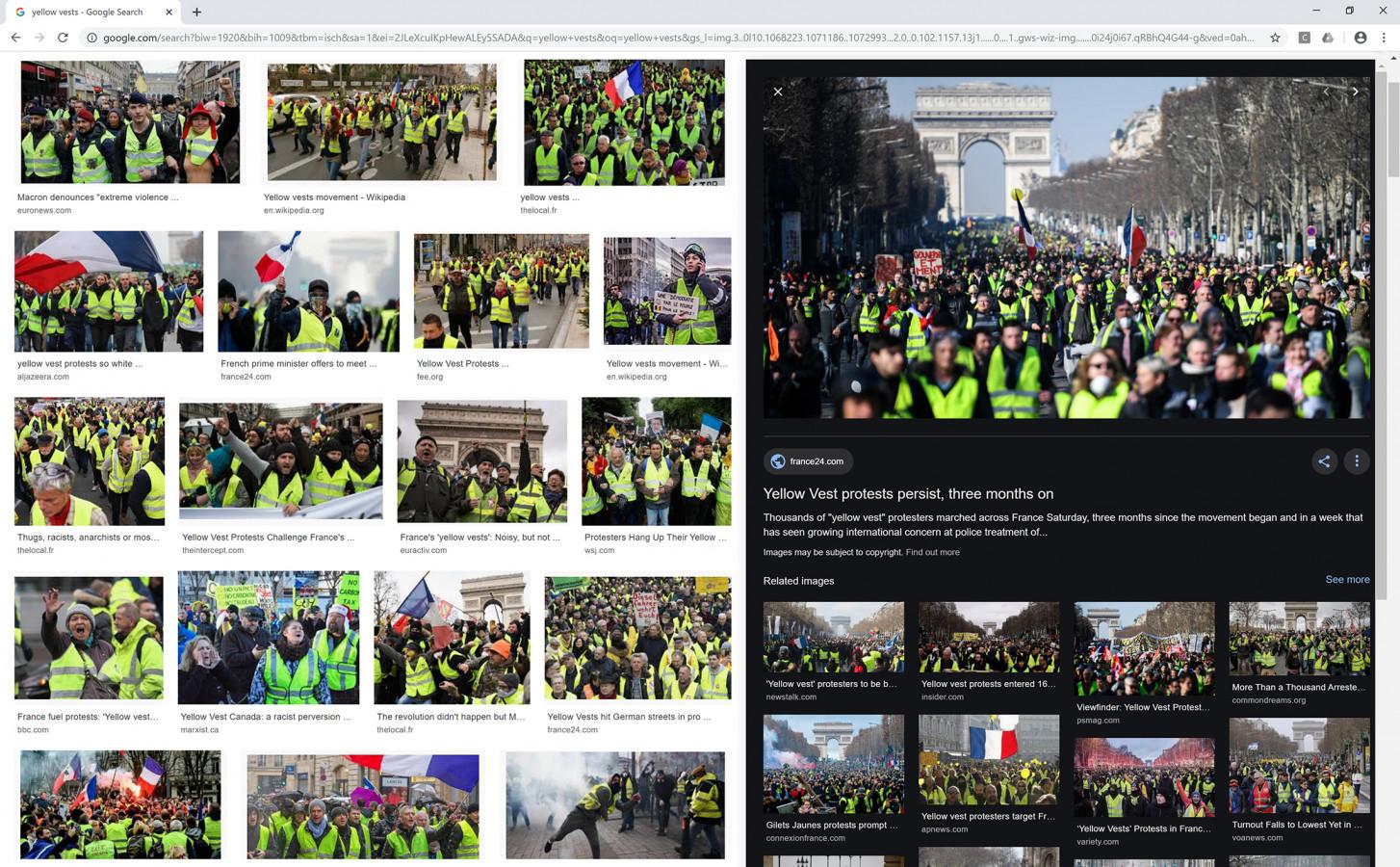 "Nataša Ilec: Protest, Symbol, and Web Browser. Google image search. Search word: ""Yellow Vests"". Screen shot, November 28, 2019."