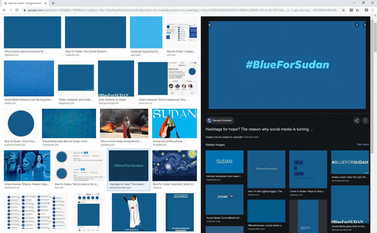 "Nataša Ilec: Protest, Symbol, and Web Browser. Google image search. Search word: ""Blue for Sudan"". Screen shot, November 28, 2019."