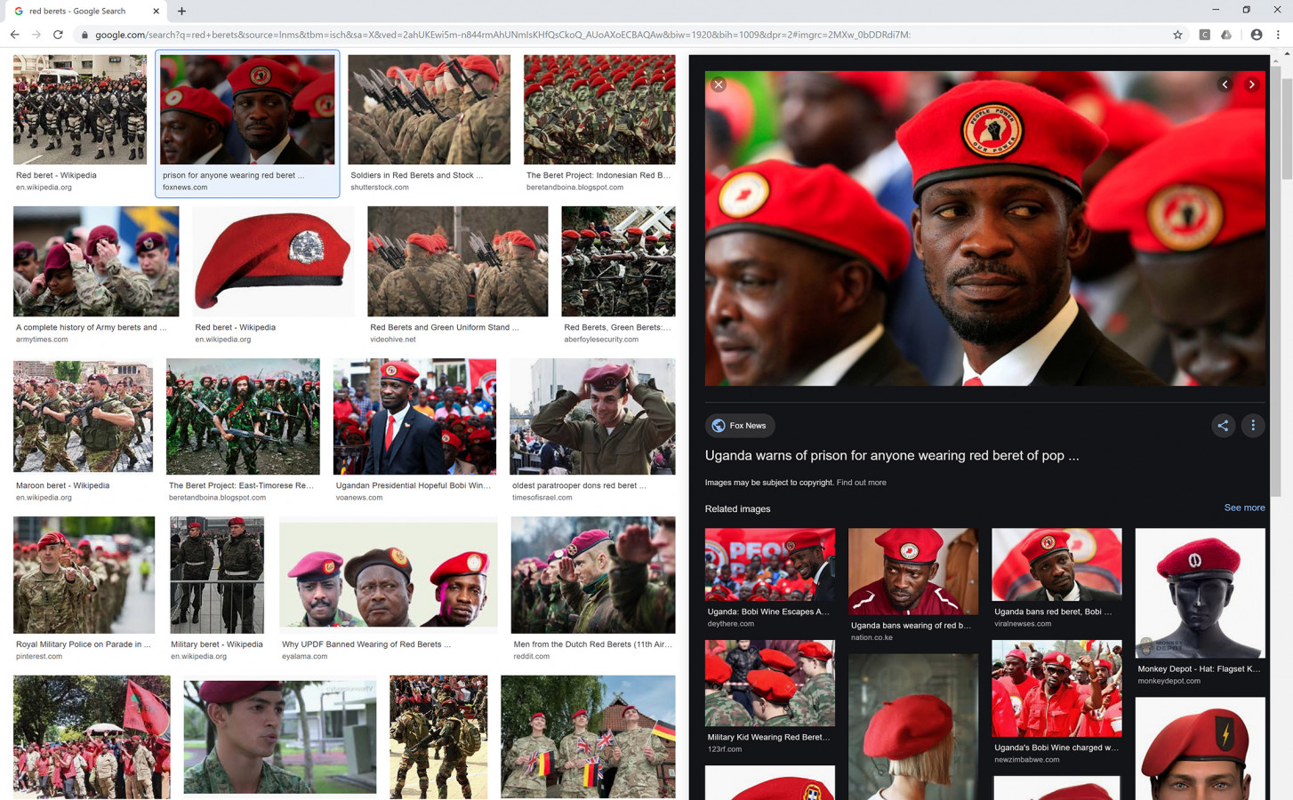 """Nataša Ilec: Protest, Symbol, and Web Browser. Google image search. Search word: """"Red Berets"""". Screen shot, November 28, 2019."""